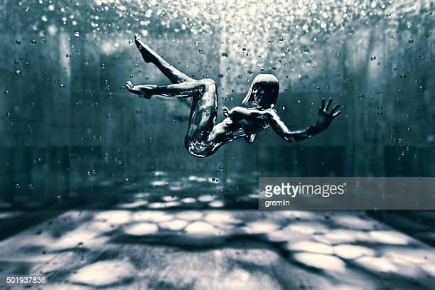Cyborg female submerged into life tank