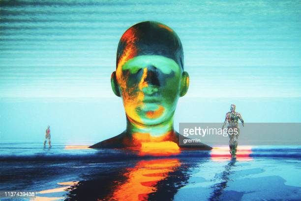 cyborg head with crude humanoid shapes - animal head stock pictures, royalty-free photos & images