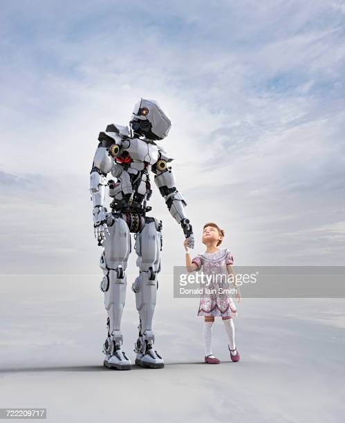 Cyborg holding hands with girl