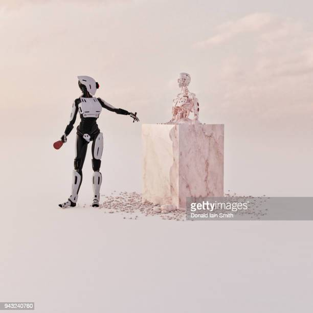cyborg sculptor artist - sculptor stock pictures, royalty-free photos & images