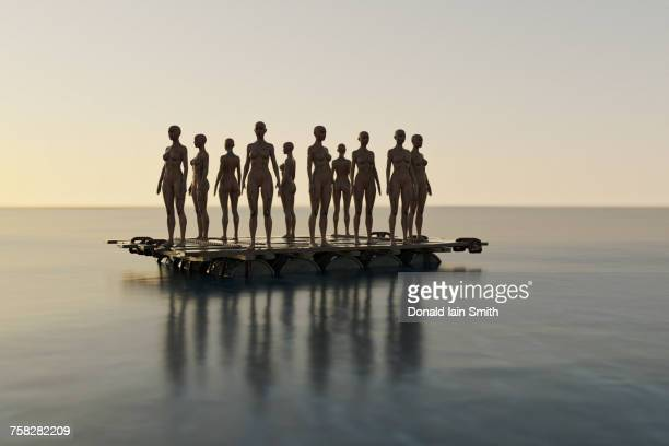 cyborg stranded on raft in ocean - refugee stock pictures, royalty-free photos & images