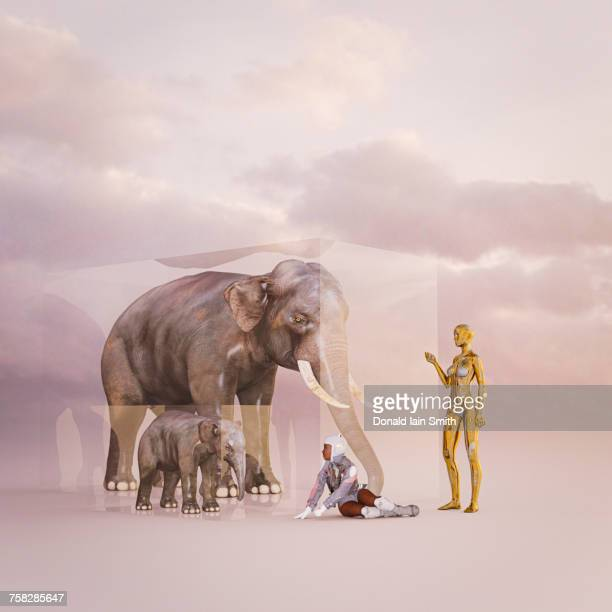 Cyborg teaching girl about elephants