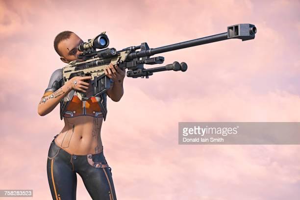 cyborg woman aiming futuristic rifle - ライフル ストックフォトと画像