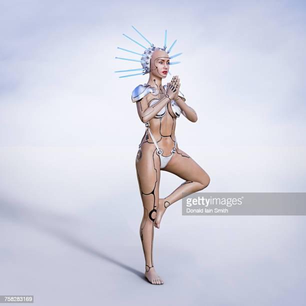 Cyborg woman performing yoga