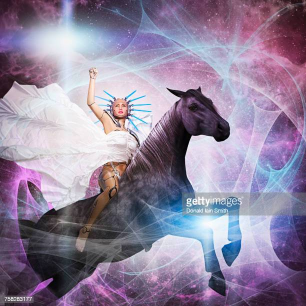 Cyborg woman riding horse in cyberspace