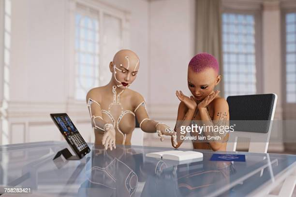 Cyborg woman teaching girl with book