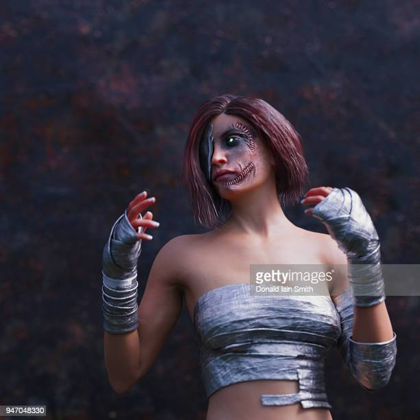 Cyborg woman with injuries and scars patched up with rough stitching