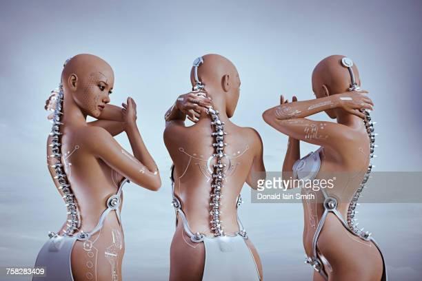 Cyborg women feeling metal spines