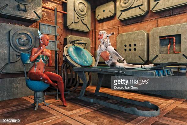cyborg women relaxing - psychiatrist's couch stock pictures, royalty-free photos & images
