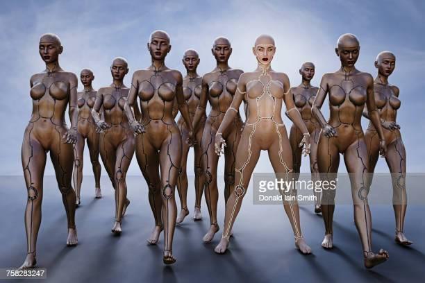 Cyborg women walking and standing