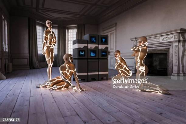 Cyborg women with computers near fireplace