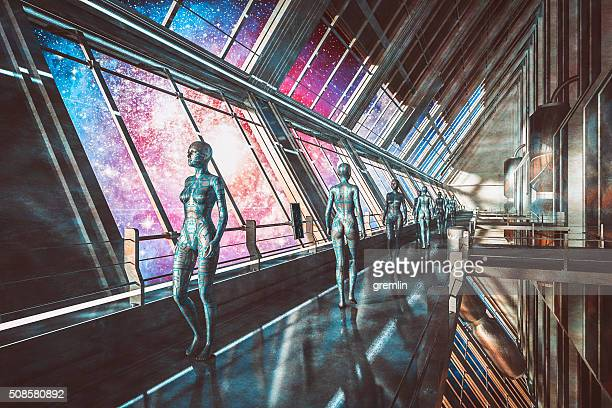 Cyborgs in spaceship, watching stars, universe