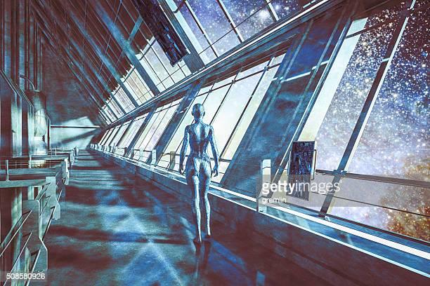 Cyborg a nave spaziale, guardando le stelle, Universo