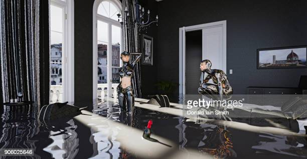Cyborgs standing in flooded bedroom