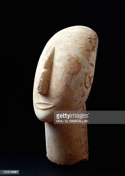 Cycladic civilization 3rd millennium bC Marble head from Amorgos Greece