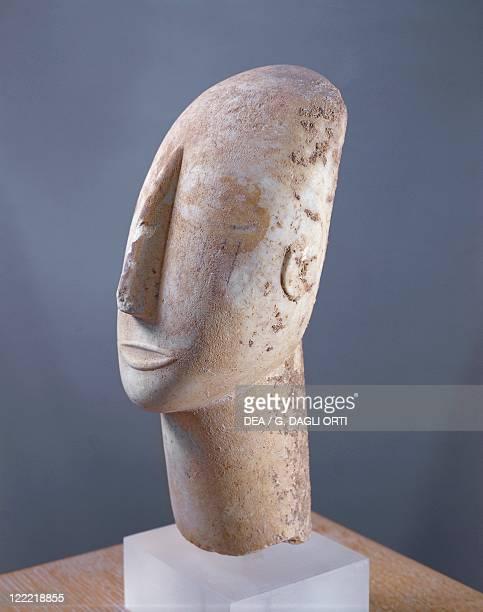 Cycladic civilization Parian marble head of idol From Amorgos Island Greece