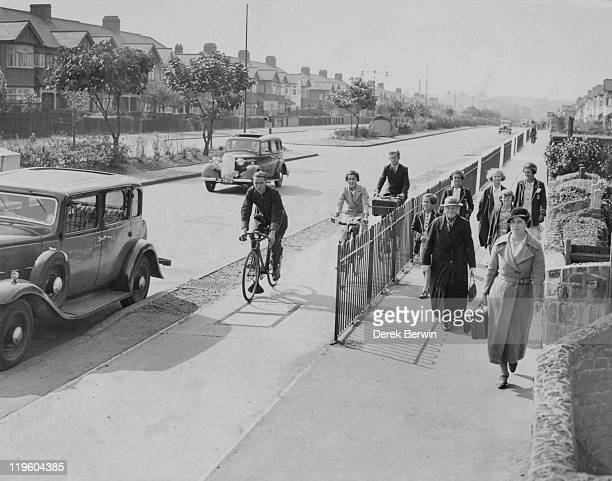 A cycle lane fencedoff from pedestrians along Eastern Avenue Ilford Essex 26th September 1937