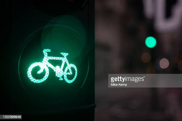 Cycle lane traffic lights on 8th January 2020 in London England United Kingdom Cycling has become a very popular mode of transport in the capital as...