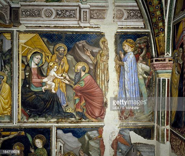 Cycle of frescoes with Stories of the Virgin Nativity Ottaviano Nelli Chapel of Palazzo Trinci Foligno Umbria Italy 15th century