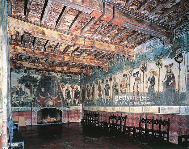 Cycle of Prodi and Heroines fresco of the Baronial Hall Castello della Manta Saluzzo Italy 15th century