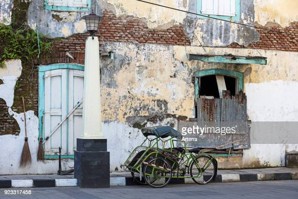 Cycle rickshaw becak in the old town Oudstad of Semarang Central Java Indonesia