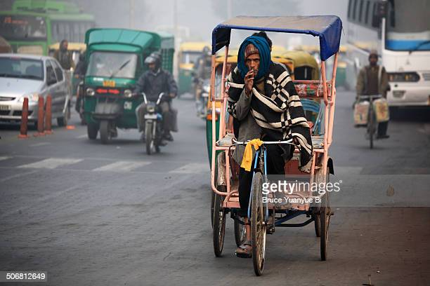 A cycle rickshaw on street