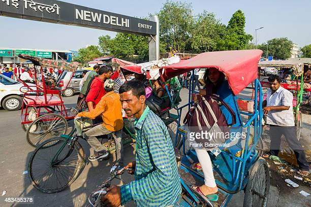Cycle rikshaws are cought in the traffic jam in front of New Delhi Railway Station
