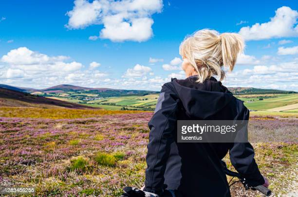 cycle trail through the heather - scotland stock pictures, royalty-free photos & images
