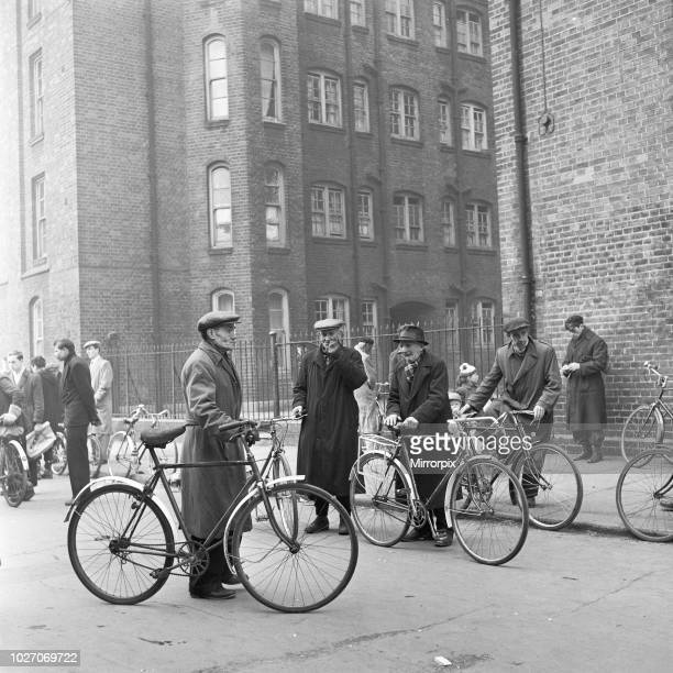 Cycles for sale at the flea market in Club Row Bethnal Green E1 London 1st March 1955