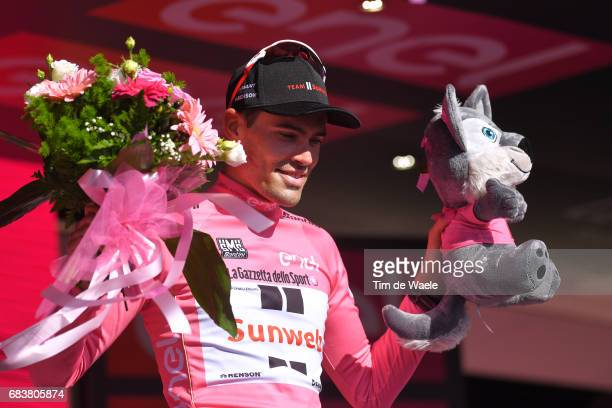 100th Tour of Italy 2017 / Stage 10 Podium / Tom DUMOULIN Pink Leader Jersey Celebration / Foligno Montefalco 451m / Giro / Individual Time Trial /...