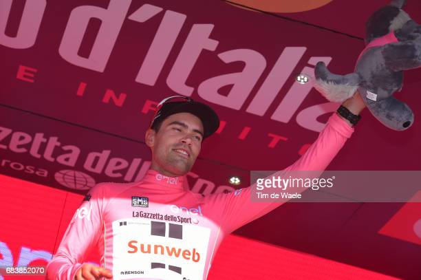 100th Tour of Italy 2017 / Stage 10 Podium / Tom DUMOULIN Pink Leader Jersey / Celebration / Foligno Montefalco 451m / Giro / Individual Time Trial /...