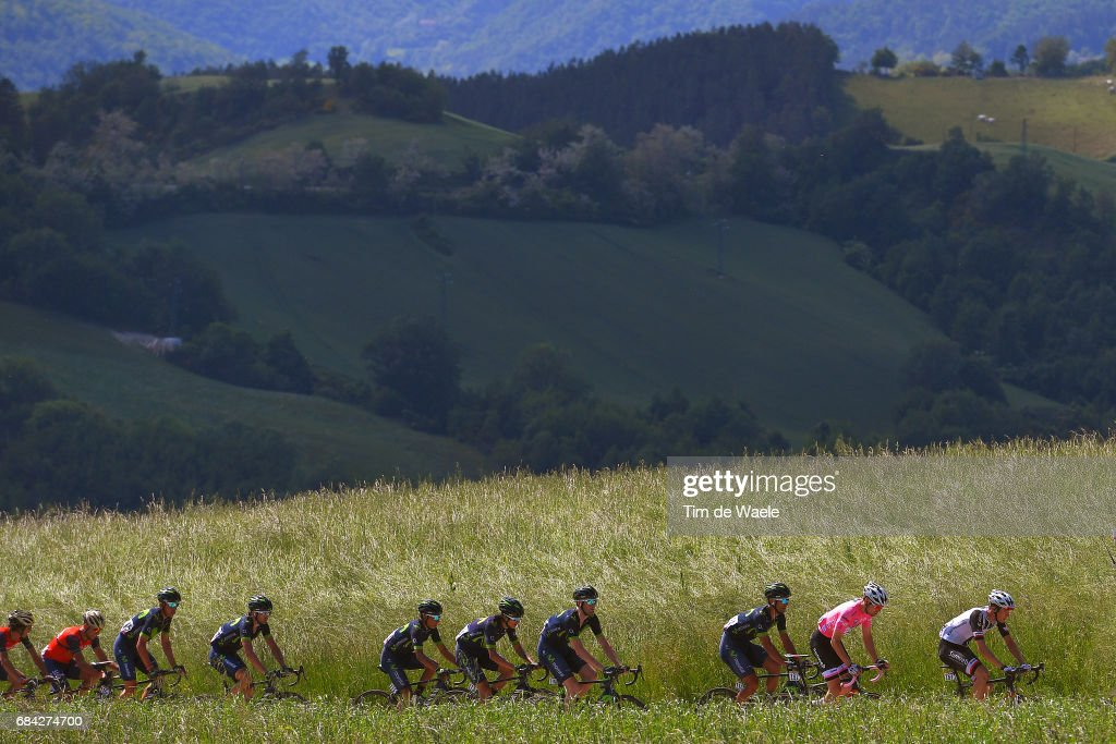 100th Tour of Italy 2017 / Stage 11 Peloton / Passo Del Carnaio (770m) Mountains / Landscape / Tom DUMOULIN (NED) pink leader jersey / Nairo QUINTANA (COL)/ Firenze (Ponte A Ema) - Bagno Di Romagna 490m (161km) / Giro /