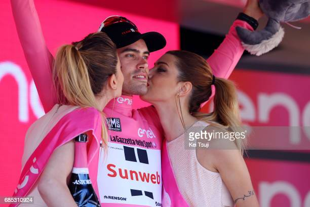 100th Tour of Italy 2017 / Stage 13 Podium / Tom DUMOULIN Pink Leader Jersey/Celebration / Reggio Emilia Tortona / Giro /
