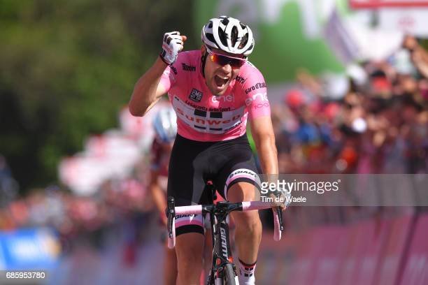 100th Tour of Italy 2017 / Stage 14 Arrival / Tom DUMOULIN Pink Leader Jersey/ Celebration / Castellania OropaBiella 1142m / Giro /