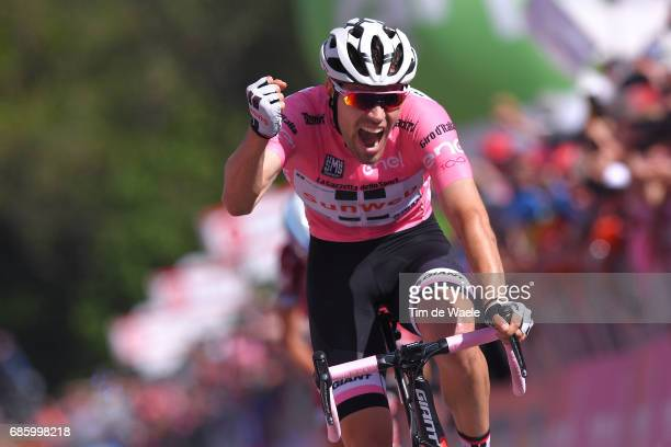100th Tour of Italy 2017 / Stage 14 Arrival / Tom DUMOULIN Pink Leader Jersey / Celebration / Castellania OropaBiella 1142m / Giro /