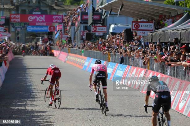 100th Tour of Italy 2017 / Stage 14 Ilnur ZAKARIN / Tom DUMOULIN Pink Leader Jersey/ Mikel LANDA MEANA / Castellania OropaBiella 1142m / Giro /