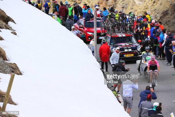 100th Tour of Italy 2017 / Stage 16 Tom DUMOULIN Pink Leader Jersey / Umbrailpass / Snow / Landscape / Rovetta Bormio / Giro /