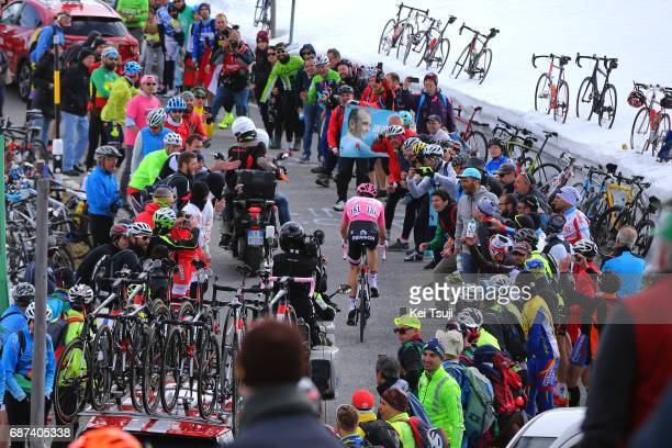 100th Tour of Italy 2017 / Stage 16 Tom DUMOULIN Pink Leader Jersey / Umbrailpass / Public / Fans / Landscape / Rovetta Bormio / Giro /