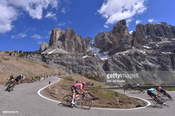 100th Tour of Italy 2017 / Stage 18 Tom DUMOULIN Pink Leader Jersey / Passo Gardena Mountains / Landscape / Moena Ortisei/St Ulrich 1219m / Giro /