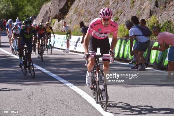 100th Tour of Italy 2017 / Stage 18 Tom DUMOULIN Pink Leader Jersey / Nairo QUINTANA / Moena Ortisei/St Ulrich 1219m / Giro /