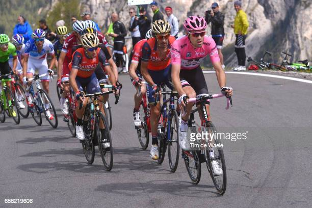 100th Tour of Italy 2017 / Stage 18 Vincenzo NIBALI / Manuele BOARO / Tom DUMOULIN Pink Leader Jersey/ Mountains / Moena Ortisei/St Ulrich 1219m /...