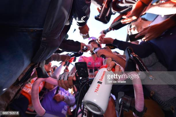 100th Tour of Italy 2017 / Stage 19 Illustration Team Sunweb Drinking bottle Bidon / Tom DUMOULIN Pink Leader Jersey / Disappointment / Interview /...
