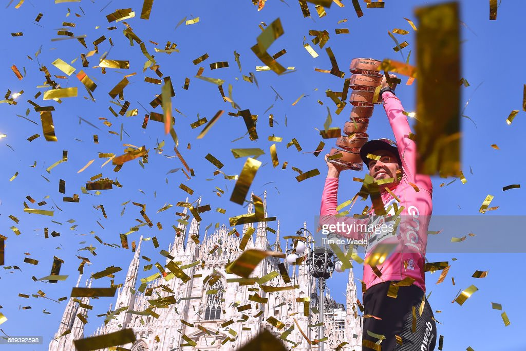100th Tour of Italy 2017 / Stage 21 Podium / Tom DUMOULIN (NED) Pink Leader Jersey/ Celebration / Trophy/ Duomo Cathedral/ Monza-Autrodromo Nazionale - Milano-Duomo (29,3km) / Individual Time Trial / ITT / Giro /