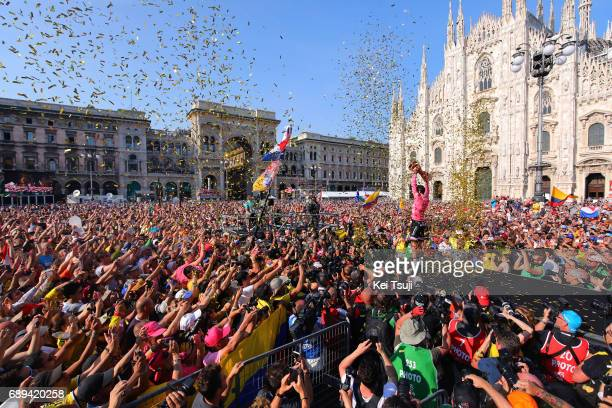 100th Tour of Italy 2017 / Stage 21 Podium / Tom DUMOULIN Pink Leader Jersey/ Celebration / Trophy/ Media/ Duomo Cathedral/ Fans / Public /...