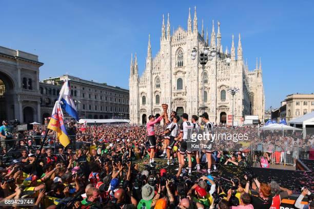 100th Tour of Italy 2017 / Stage 21 Podium / Tom DUMOULIN Pink Leader Jersey/ Team Sunweb / Phil BAUHAUS / qSimon GESCHKE / Chad HAGA / Wilco...