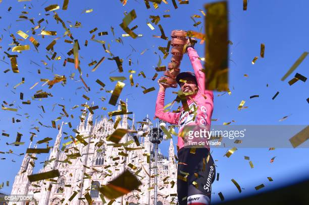 100th Tour of Italy 2017 / Stage 21 Podium / Tom DUMOULIN Pink Leader Jersey/ Celebration / Trophy/ Duomo Cathedral/ MonzaAutrodromo Nazionale...