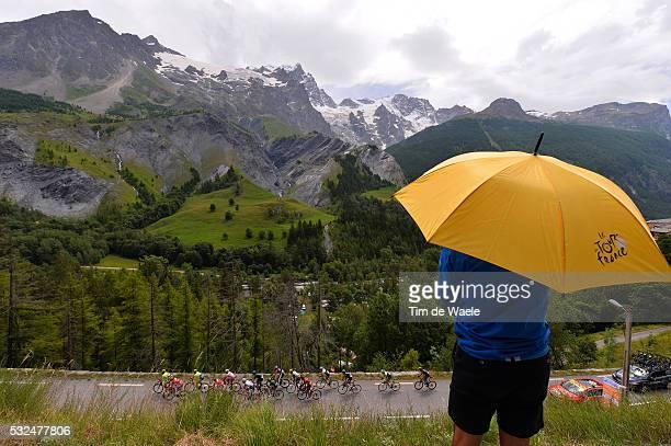 101th Tour de France / Stage 14 Illustration Illustratie / Peleton Peloton / COL DU LAUTARET Mountains Montagnes Bergen / Fans Supporters / Landscape...
