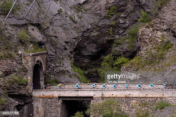 101th Tour de France / Stage 14 NIBALI Vincenzo Yellow Leader Jersey / Team Astana / Tunnel Bridge Pont Brug / Landscape Paysage Landschap /...