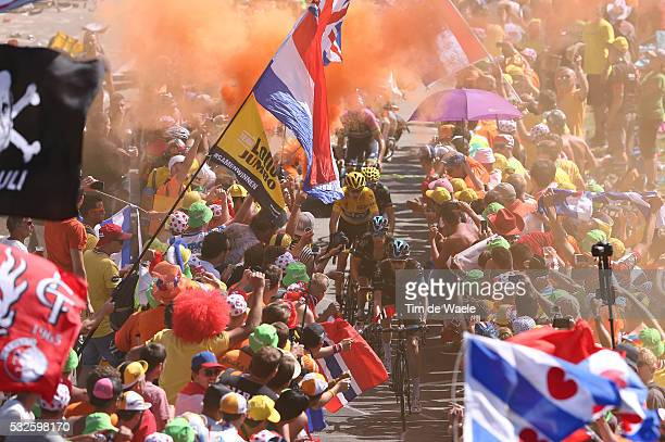 102nd Tour de France / Stage 20 FROOME Christopher Yellow Leader Jersey / PORTE Richie / POELS Wout / VALVERDE Alejandro / / Fans Supporters Public...