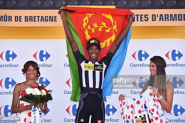102nd Tour de France / Stage 8 Podium / TEKLEHAIMANOT Daniel Mountain Jersey / Celebration Joie Vreugde / Eritrea Flag Drapeau Vlag / Rennes Mur de...